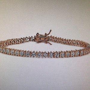 =NEW= LADIES DIAMOND ROSE 18k GOLD TENNIS BRACELET
